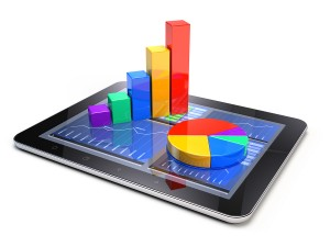 Financial accounting charts on a tablet.